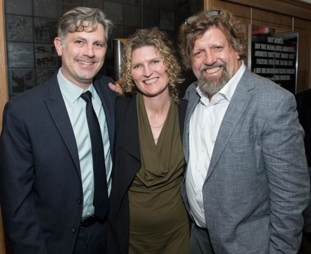 <p>Elevator Repair Service&#39&#x3B;s John Collins and Ariana Smart Truman celebrate the evening with Public Theater artistic director Oskar Eustis.</p><br />(© Simon Luethi)