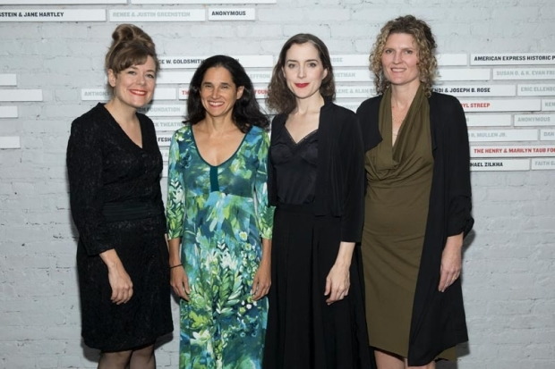 <p>Company members Lindsay Hockaday, Susie Sokol, Maggie Hoffman, producer Ariana Smart Truman smile for the camera.</p><br />(© Simon Luethi)
