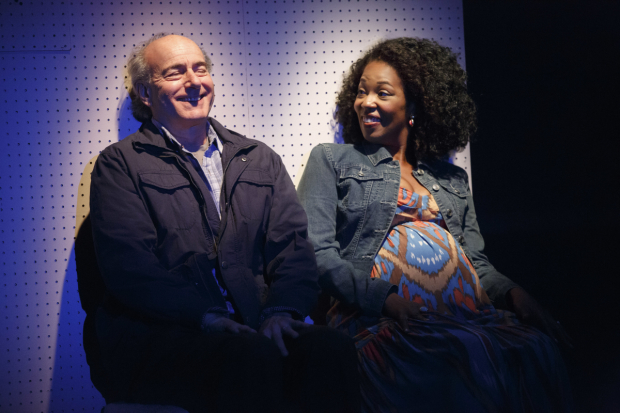 <p>Peter Friedman and Marinda Anderson have a chat.</p><br />(© Joan Marcus)
