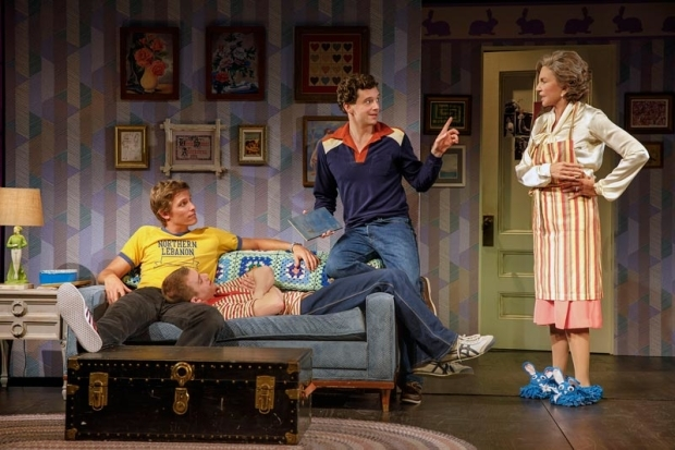 <p>Ward Burton, Jack DiFalco, Michael Urie, and Mercedes Ruehl share a scene in <em>Torch Song</em>.</p><br />(© Joan Marcus)
