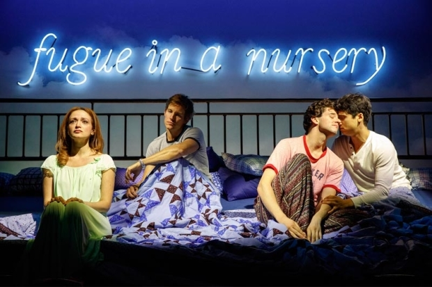 <p>Moisés Kaufman directs the revival of <em>Torch Song</em> featuring Roxanna Hope Radja, Ward Horton, Michael Urie, and Michael Rosen, pictured here.</p><br />(© Joan Marcus)