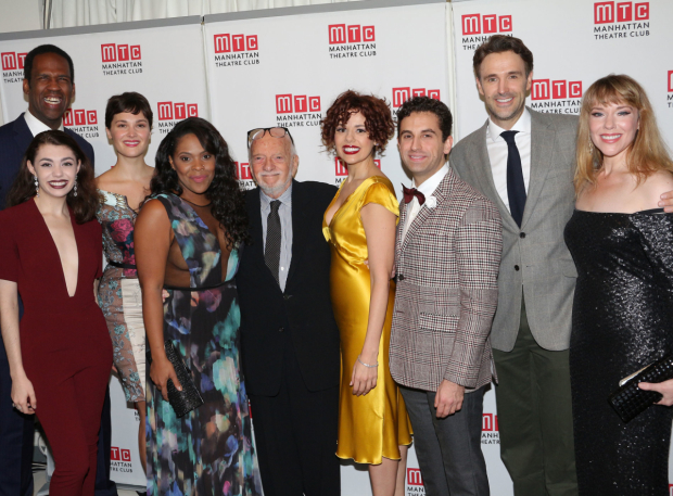 <p>Hal Prince joins his <em>Prince of Broadway</em> company, Quentin Oliver Lee, Kaley Ann Voorhees, Emma Stratton, Bryonha Marie Parham, Janet Dacal, Brandon Uranowitz, Michael Xavier, and Emily Skinner.</p><br />(© David Gordon)