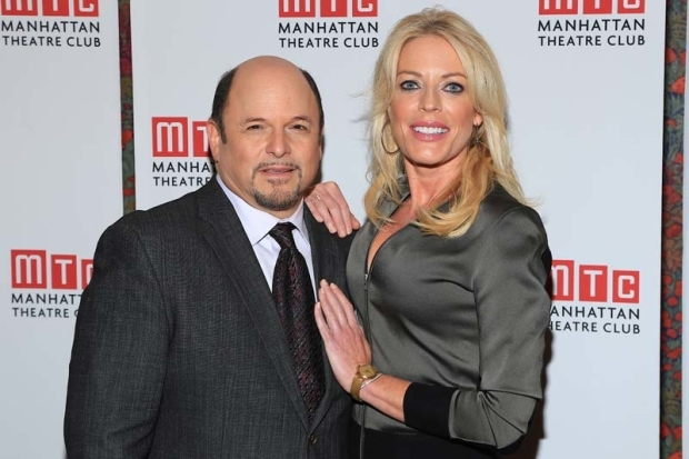 <p>Costars Jason Alexander and Sherie Rene Scott celebrate opening night.</p><br />(© Tricia Baron)
