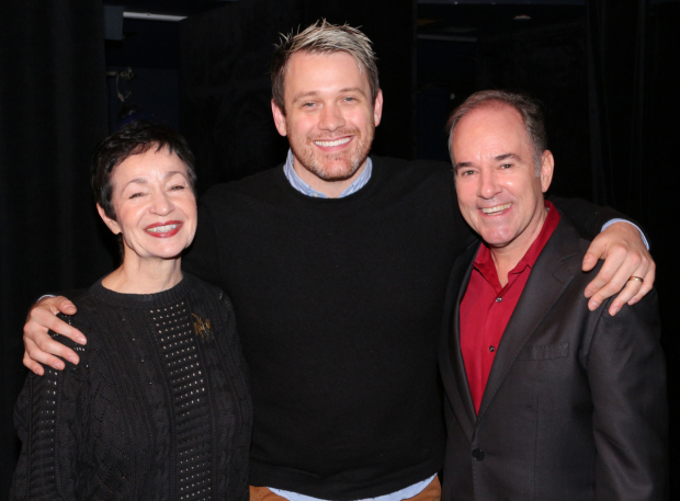 <p><em>Once on This Island</em> writers Lynn Ahrens and Stephen Flaherty pose with director Michael Arden.</p><br />(© David Gordon)