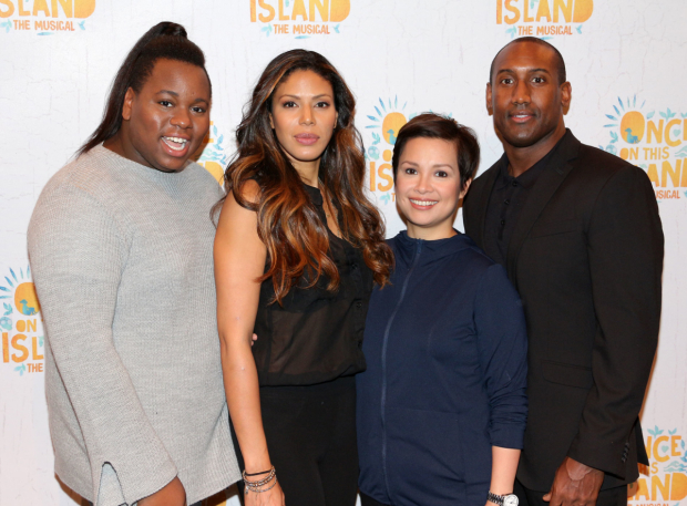 <p>Alex Newell, Merle Dandridge, Lea Salonga, and Quentin Earl Darrington play the gods Asaka, Papa Ge, Erzulie, and Agwe.</p><br />(© David Gordon)