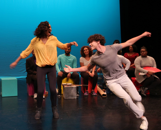 <p>Hailey Kilgore (Ti Moune) dances with Isaac Powell (Daniel).</p><br />(© David Gordon)