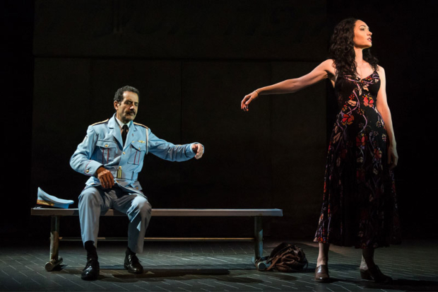 <p>Tony Shalhoub and Katrina Lenk reprise their roles from the off-Broadway production.</p><br />(© Matthew Murphy)