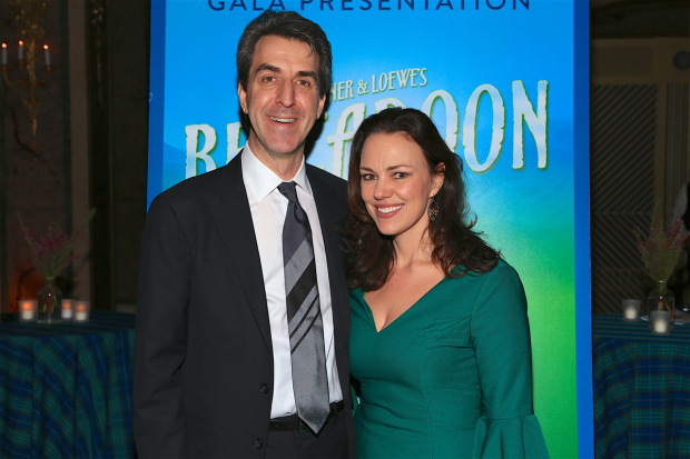 <p>Composers Jason Robert Brown and Georgia Stitt stopped on the red carpet.</p><br />(© Tricia Baron)