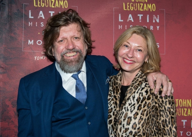 <p>Oskar and Laurie Eustis were on hand to celebrate the Broadway opening of the Public Theater-originated <em>Latin History for Morons</em>.</p><br />(© Allison Stock)