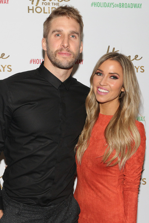 <p>Cast member Kaitlyn Bristowe poses with her fiancé, Shawn Booth.</p><br />(© David Gordon)