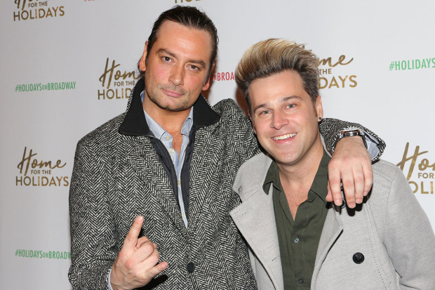 <p>Constantine Maroulis rocks out with Ryan Cabrera.</p><br />(© David Gordon)