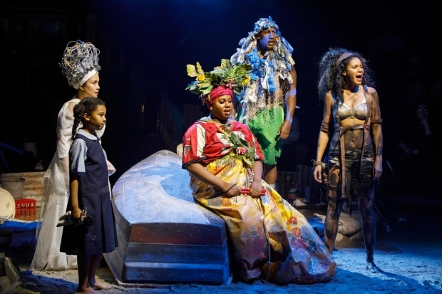 <p>Emerson Davis, Lea Salonga, Alex Newell, Quentin Earl Darrington, and Merle Dandridge in a scene from <em>Once on This Island</em>.</p><br />(© Joan Marcus)