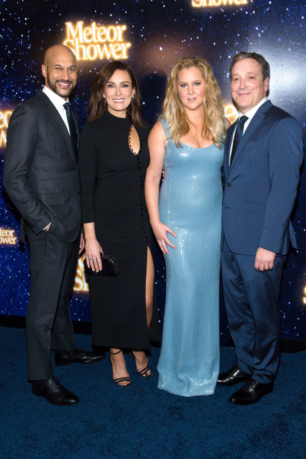<p>Keegan-Michael Key, Laura Benanti, Amy Schumer, and Jeremy Shamos celebrate their opening night.</p><br />(© Noam Galai/Getty Images for ''Meteor Shower'')