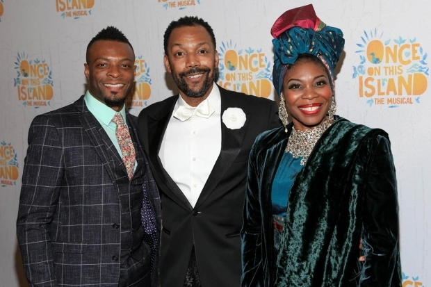 <p>Associate choreographer Rickey Tripp and performers T. Oliver Reid and Darlesia Cearcy got together for a photo.</p><br />(© Tricia Baron)