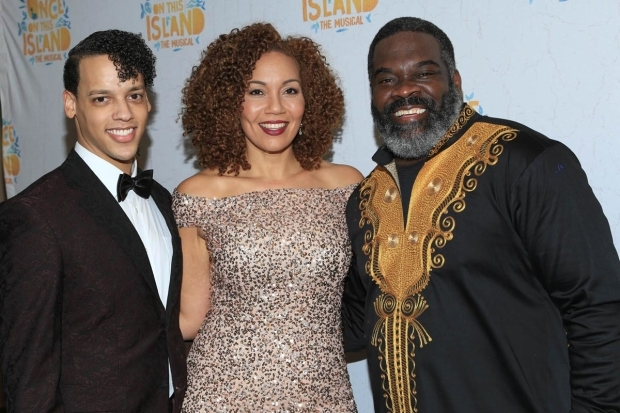<p><em>Once on This Island</em> stars Tyler Hardwick, Cassondra James, and Phillip Boykin were excited about opening night.</p><br />(© Tricia Baron)