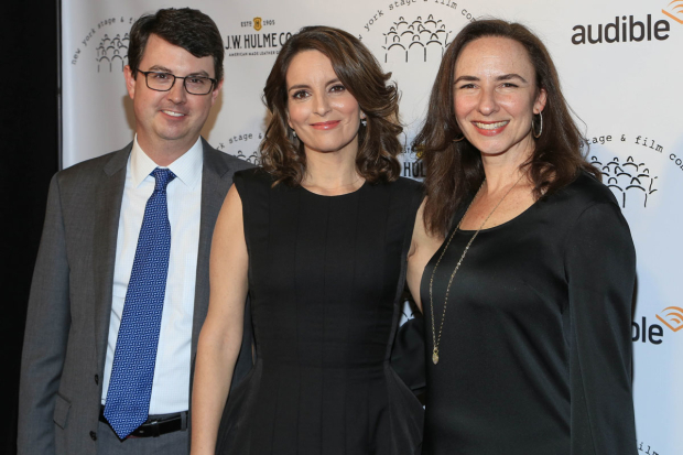 <p>New York Stage and Film executive director Thomas Pearson (left) and artistic director Johanna Pfaelzer (right) grab a photo with honoree Tina Fey.</p><br />(© Tricia Baron)
