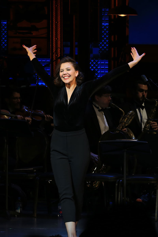 <p>Roundabout Theatre favorite Maggie Gyllenhaal takes the stage during curtain call.</p><br />(© Tricia Baron)