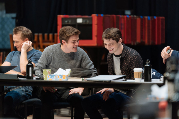 <p>Jamie Parker, Sam Clemmett, and Anthony Boyle have a laugh during rehearsals.</p><br />(© Manuel Harlan)