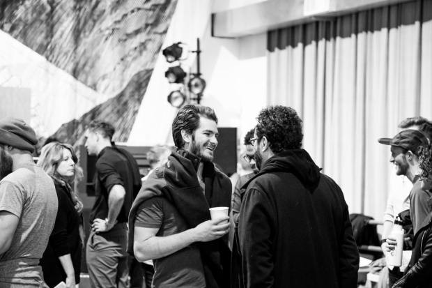 <p>Andrew Garfield, who plays Prior Walter, speaks to playwright Tony Kushner.</p><br />(photo provided by DKC/O&M)