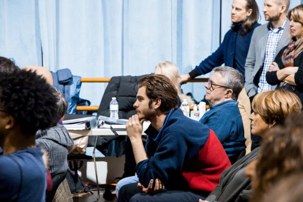 <p>Andrew Garfield and Nathan Lane, stars of <em>Angels in America</em>, listen intently during a presentation.</p><br />(photo provided by DKC/O&M)
