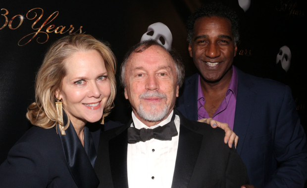 <p>Past cast members Rebecca Luker, George Lee Andrews, and Norm Lewis walk the red carpet.</p><br />(© David Gordon)