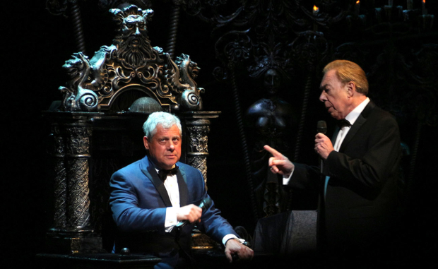 <p>Producer Cameron Mackintosh and composer Andrew Lloyd Webber do a comedic bit onstage.</p><br />(© David Gordon)