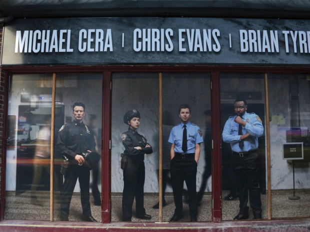 <p>The signage for <em>Lobby Hero</em> outside the Hayes Theater.</p><br />(© David Gordon)