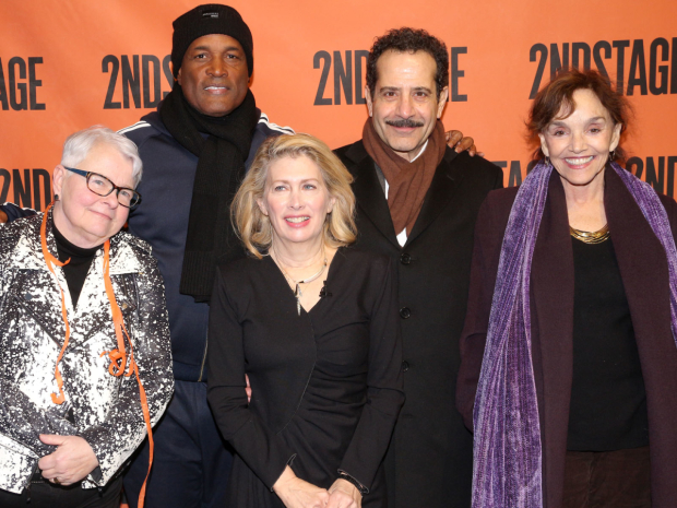 <p>Artistic director Carole Rothman (center) with Second Stage friends Paula Vogel, Kenny Leon, Tony Shalhoub, and Brooke Adams.</p><br />(© David Gordon)