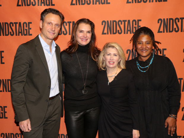 <p>Second Stage board members Tony Goldwyn, Brooke Shields, and Lynn Nottage join artistic director Carole Rothman (second from right) for a celebratory photo.</p><br />(© David Gordon)