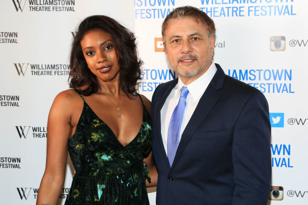 <p><em>Saint Joan</em> star Condola Rashad and honoree Gary Levine take a photo together.</p><br />(© Tricia Baron)
