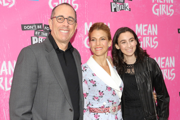 <p>Jerry Seinfeld, his wife, Jessica, and daughter, Sascha, stop for a photo.</p><br />(© David Gordon)