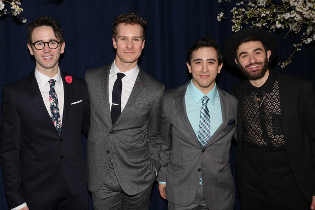 <p>Garett Hawe, Ryan Steele, Jess LeProtto, and Ricky Ubeda smile for the cameras.</p><br />(© David Gordon)