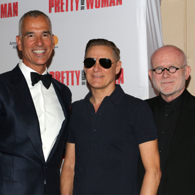 <p><em>Pretty Woman</em> director Jerry Mitchell with songwriters Bryan Adams and Jim Vallance</p><br />(© David Gordon)