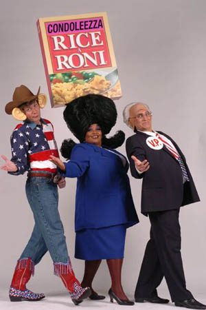 <p>2004: President George W. Bush, Condoleeza Rice, and Vice President Dick Cheney have their moment in the <em>Beach Blanket</em> sunshine.</p><br />(courtesy of the show)
