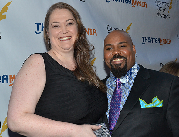 <p>2014 nominee James Monroe Iglehart (right) with his wife, Dawn.</p><br />(© David Gordon)