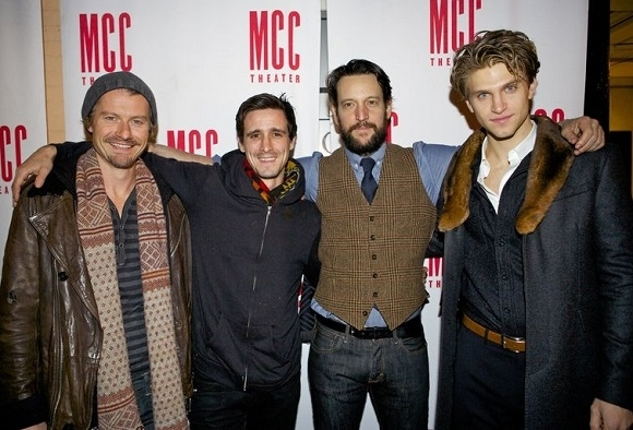 <p>Cast members James Badge Dale, James Ransone, John Pollono, and Keegan Allen arrive for the after-party.</p><br />(© Christopher Gower Johnson)