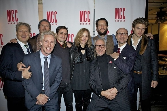 <p>The cast and director, Jo Bonney (center), are joined by the MCC Theater artistic staff to celebrate.</p><br />(© Christopher Gower Johnson)
