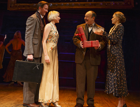 <p>Cliff and Sally (Bill Heck and Michelle Williams) congratulate Herr Schultz and Fräulein Schneider (Danny Burstein and Linda Emond) on their engagement.</p><br />(© Joan Marcus)