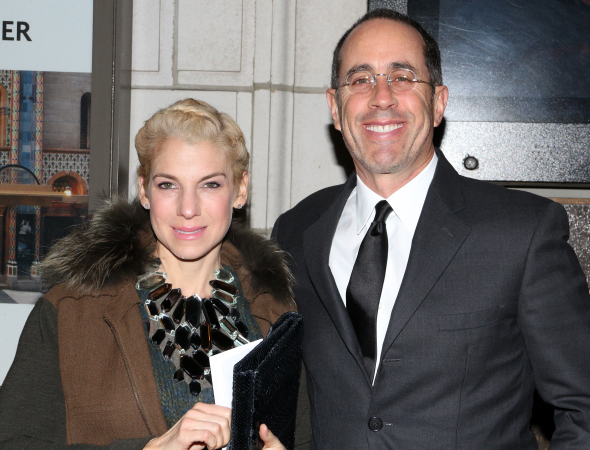<p>Jessica and Jerry Seinfeld pose for photos before the latest Broadway opening night.</p><br />(© David Gordon)