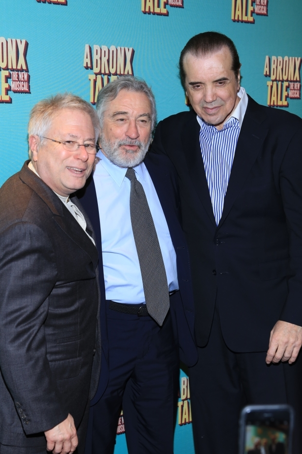 <p><em>A Bronx Tale</em> creator and book writer Chazz Palminteri (right) celebrates with the musical&#39&#x3B;s codirector Robert De Niro (center) and composer Alan Menken.</p><br />(© Tricia Baron)