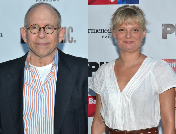 <p><em>A Delicate Balance</em> stars Bob Balaban and Martha Plimpton came out to cheer on their fellow cast member, <em>King Lear</em> star John Lithgow.</p><br />(© David Gordon)