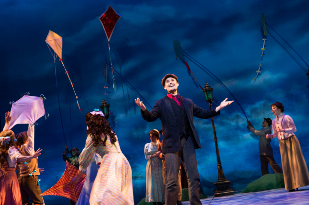 <p>A delighted Mark Evans in <em>Mary Poppins</em>.</p><br />(© Matthew Murphy)