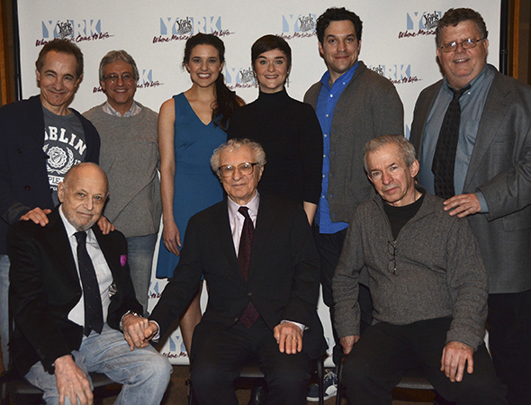 <p>A family photo: (standing from left) actor Jason Graae, musical director Jeff Saver, actors Kerry Conte, Rhyn McLemore, and Aaron Serotsky, York Artistic Director James Morgan&#x3B; (seated from left) guest Charles Strouse, book writer/lyricist Sheldon Harnick, and director Robert Brink.</p><br />(© Nessie Nankivell)