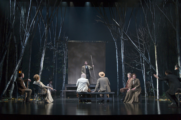 <p>A full stage shot of the production at the Huntington Theatre Company.</p><br />(© T Charles Erickson)