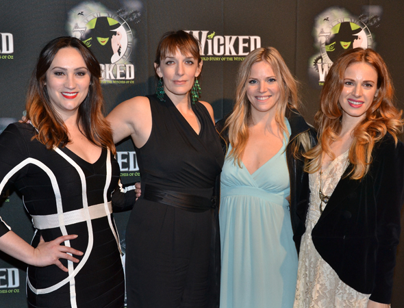 <p>A gaggle of alums: Eden Espinosa (Elphaba), Julia Murney (Elphaba), Katie Rose Clarke (Glinda), and Teal Wicks (Elphaba).</p><br />(© David Gordon)