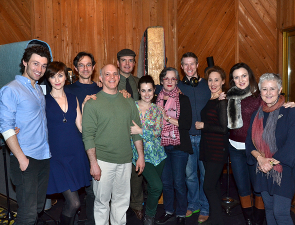 <p>A <em>Gentleman&#39&#x3B;s Guide to Love and Murder</em> family group shot in the recording studio.</p><br />(© David Gordon)