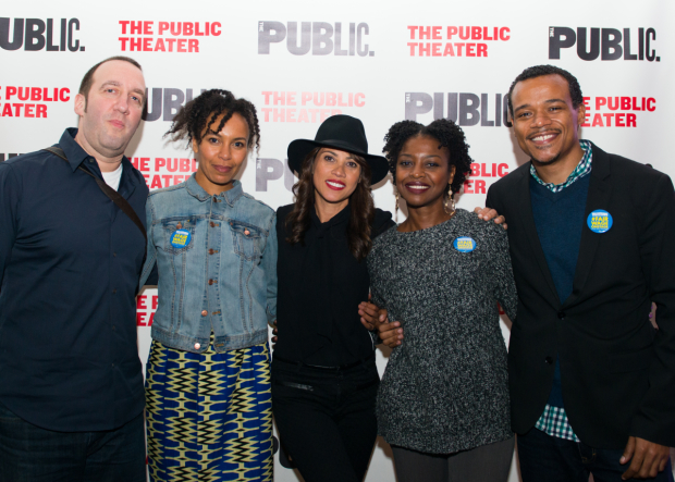 <p>A group shot of guests: Danny Hoch, Eisa Davis, Elizabeth Rodriguez, Pascale Armand, and LeRoy McLaine.</p><br />(© Allison Stock)