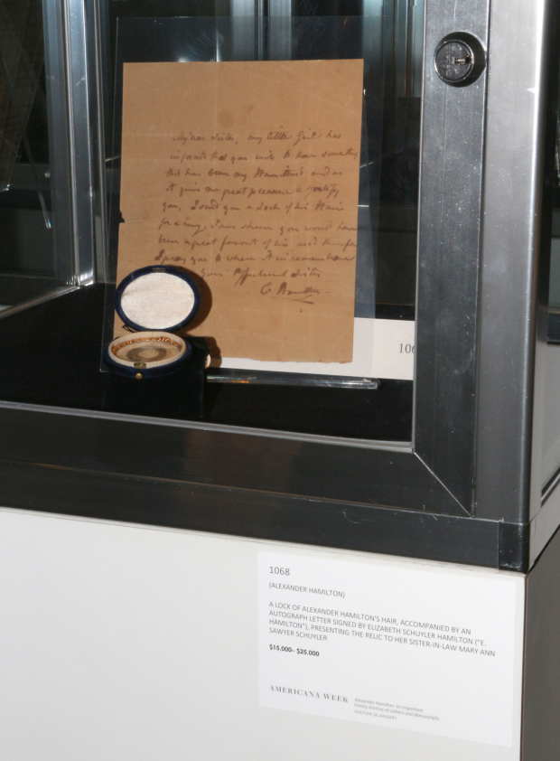 <p>A lock of Alexander Hamilton&#39&#x3B;s hair, as well as a letter from Elizabeth Schuyler Hamilton to her sister-in-law, Mary Ann Sawyer Schuyler.</p><br />(© David Gordon)