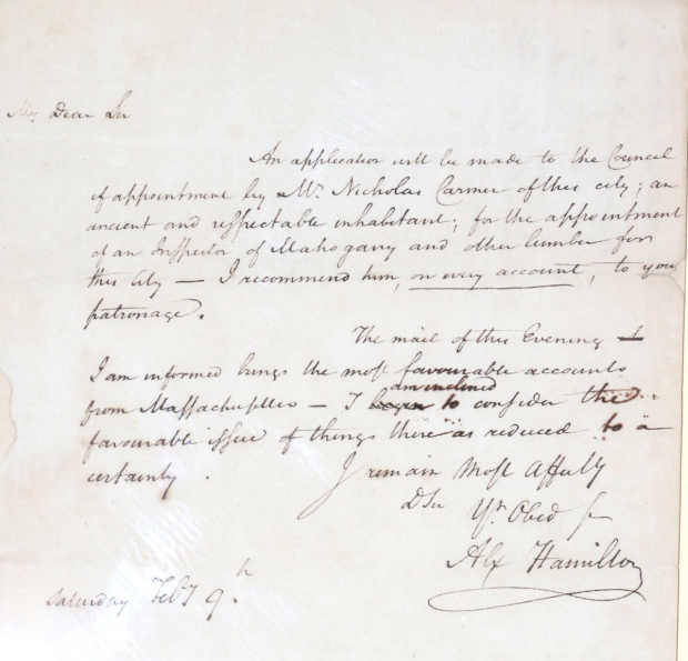 <p>A note depicting the handwriting and signature of Alexander Hamilton. </p><br />(© David Gordon)
