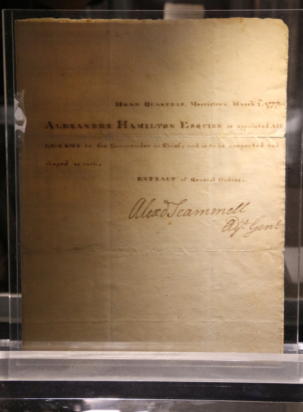 <p>A proclamation dated March 1, 1777, announcing that Alexander Hamilton has been appointed aide-de-camp to George Washington.</p><br />(© David Gordon)